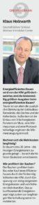 Energieeffizientes Bauen, Klaus Holzwarth, Ludwigsburger Kreiszeitung